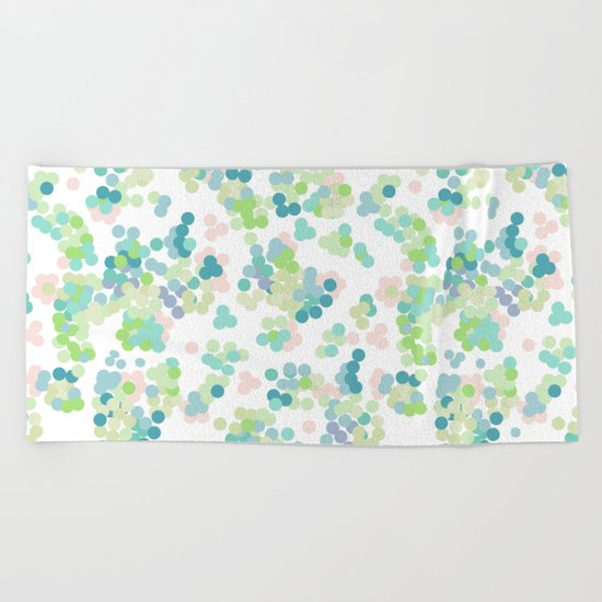 Blue green polka dots on a white background . Beach Towel