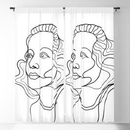 Looking To The Future Line Drawing Portrait Blackout Curtain