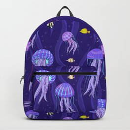 Sea jellyfish on dark purple background. Backpack