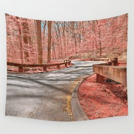 Opalescent Forest Road Wall Tapestry