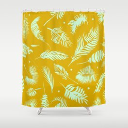 Golden palm pattern with bright mint color Shower Curtain
