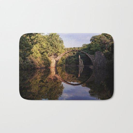 Mystical stone arch- Stonearch History Lake Reflection on #Society6 Bath Mat