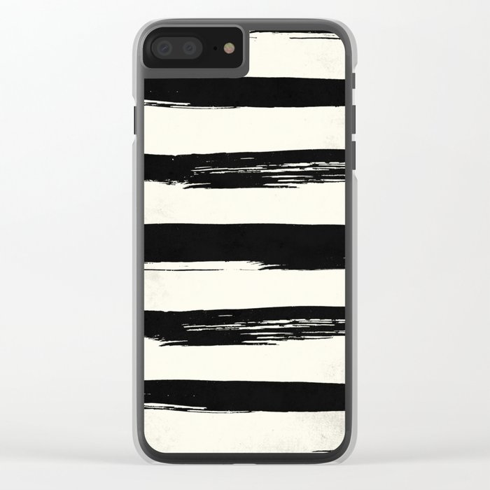 Tribal Paint Stripes Black and Cream Clear iPhone Case