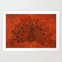 Doodle peacock on red Art Print