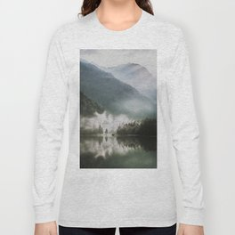 Dreamlike Morning at the Lake - Nature Forest Mountain Photography Long Sleeve T-shirt