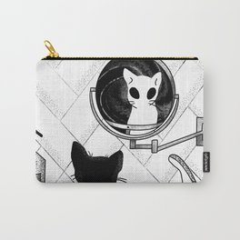Alien Cat Staring Into Parallel Universe - Space Bathroom - Trippy Line Art Carry-All Pouch