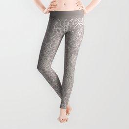 Delicate Lace Mandala Pattern (Grey/Cream) Leggings