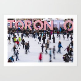 Canadian new year in front of Toronto Sign Art Print