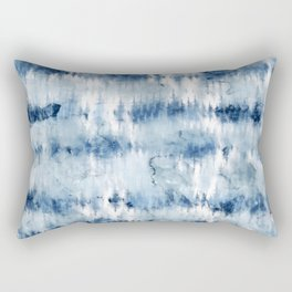 Modern hand painted dark blue tie dye batik watercolor Rectangular Pillow