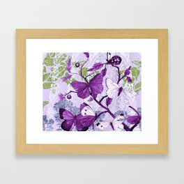 Purple Butterflies on a Branch Vintage Floral Framed Art Print