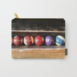 Group of vintage pool balls inside the table, closeup, retro style. Carry-All Pouch