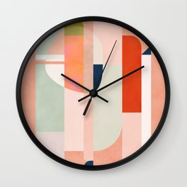 shapes modern mid-century peach pink coral mint Wall Clock