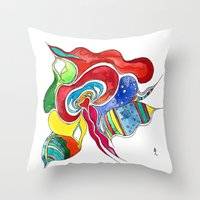 medusa Throw Pillows featuring Medusa by Gosia&Helena