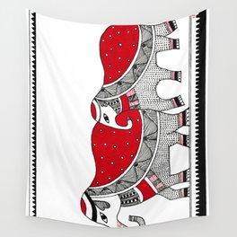 Madhubani Elephant Wall Tapestry