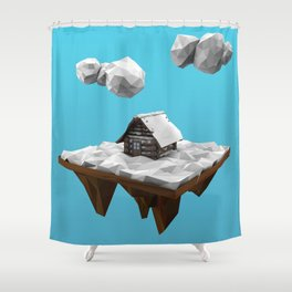 lowpoly winter Shower Curtain