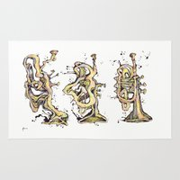 trumpet Area & Throw Rugs featuring Trumpet Melt by Dan Lisowski Illustration