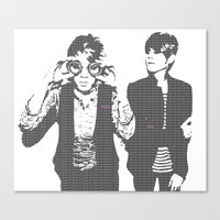 tegan and sara Canvas Prints featuring Tegan & Tegan & Sara & Sara - Gray by c.beanan