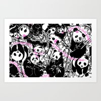 pandas Art Prints featuring Pandas by beach please