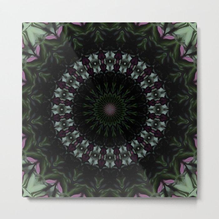 Rose And Jade Geometric  Dark Fantasy Mandala Pattern Metal Print
