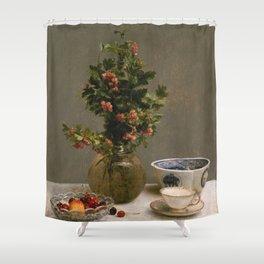 Henri Fantin Latour - Still Life With Vase Of Hawthorn Shower Curtain