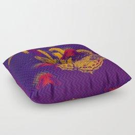 Red radioactive butterflies in glowing landscape Floor Pillow