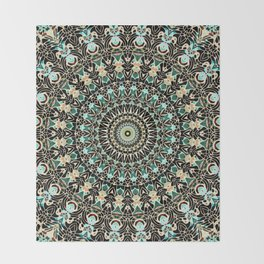Gold Wire Mandala in Turquoise Blue, Green, and Rust Throw Blanket