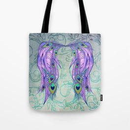 Peacock Feather Angel Wing Wallpaper Tote Bag
