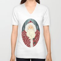 santa V-neck T-shirts featuring Santa by Beesants