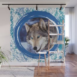 Blue-Eyed Wolf Wall Mural