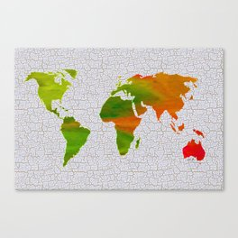 Colorful Art World Map Illustration Canvas Print