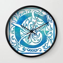 Letter G Antique Floral Letterpress Monogram Wall Clock