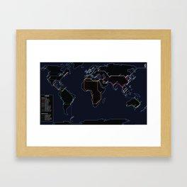 Rail Map of the World (Night) Framed Art Print