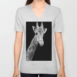 B&W Giraffe Portrait Unisex V-Neck