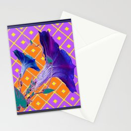 Black & Purple Morning Glories Pattern Stationery Cards