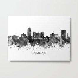 Bismarck North Dakota Skyline BW Metal Print
