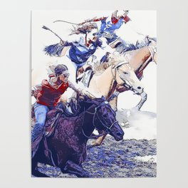 Horse Racing Cowgirls Poster