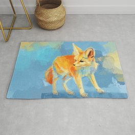 Sound of the Desert - Fennec Fox digital painting Rug