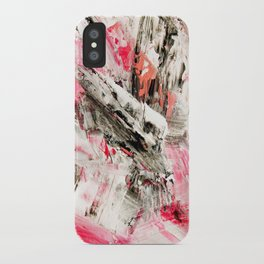 Candy Modern abstract pink salmon black grey acrylic brushstrokes painting iPhone Case