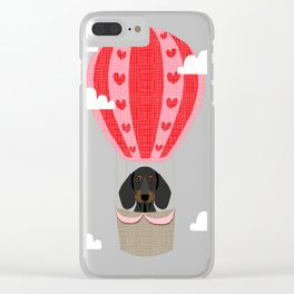 Dachshund doxie dachsie dog breed hot air balloon dog art Clear iPhone Case