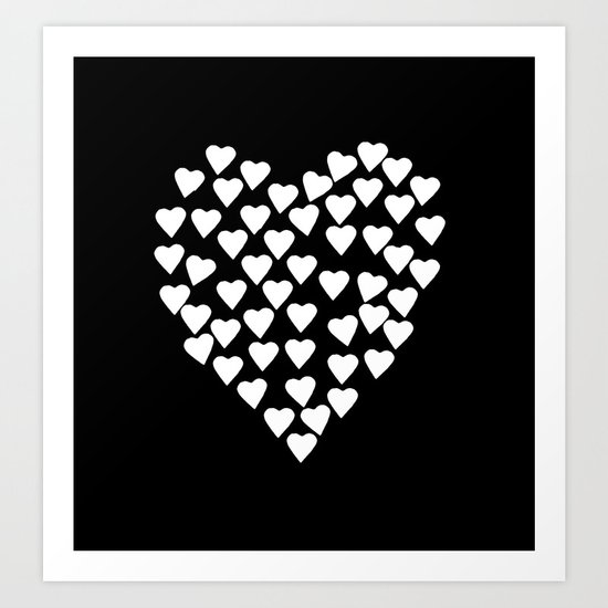 Hearts on Heart White on Black Art Print