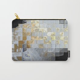Squares in Gold and Silver Carry-All Pouch