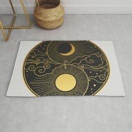 Sun, Moon, clouds, stars. Yin Yang Rug