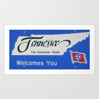 tennessee Art Prints featuring Tennessee by sannngat