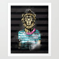 hipster lion Art Prints featuring Hipster Lion on Black by Brewer Arts