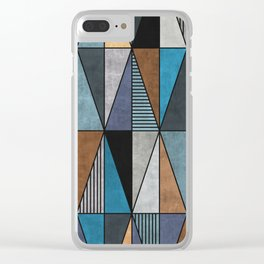 Colorful triangles - blue, grey, brown Clear iPhone Case
