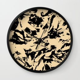 Beige Yellow Black Abstract Military Camouflage Wall Clock