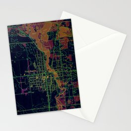 Park Rapids old map year 1969, united states old maps, colorful art Stationery Cards