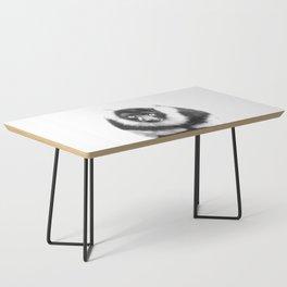 Black and white lemur animal portrait Coffee Table
