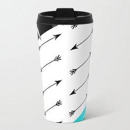 Turquoise black white pattern Boom 2 . Travel Mug