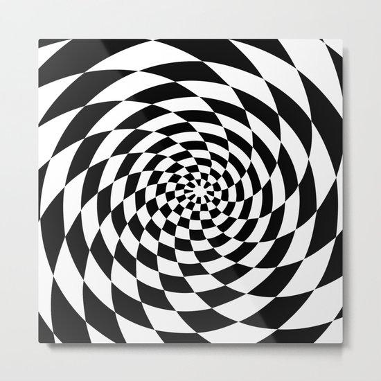 Optical Illusion Op Art Black and White Retro Style Metal Print
